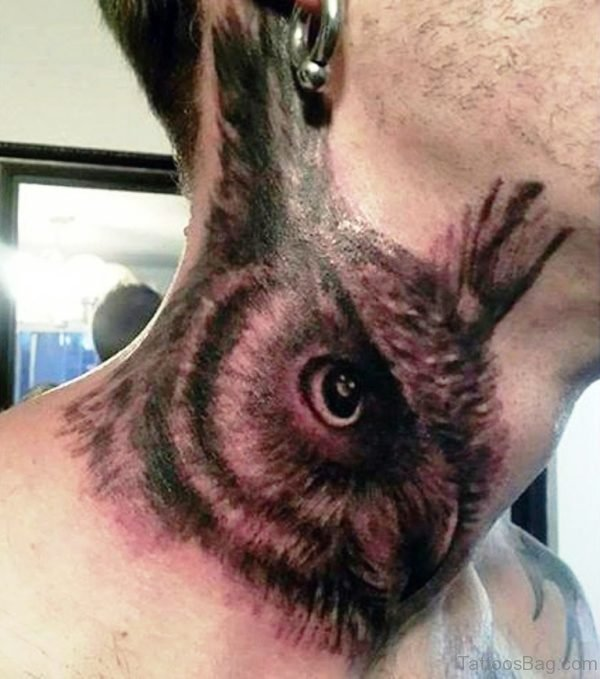 Attractive Owl Neck Tattoo