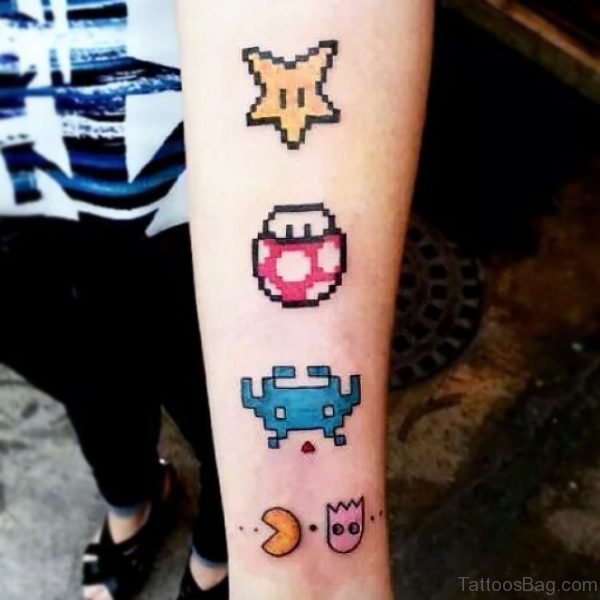 Attractive Pacman Tattoo On Wrist