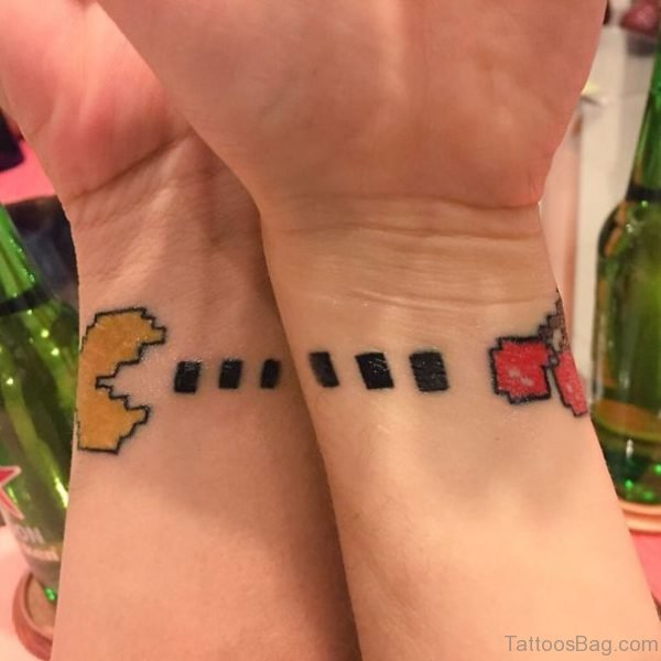 Attractive Pacman Wrist Tattoo