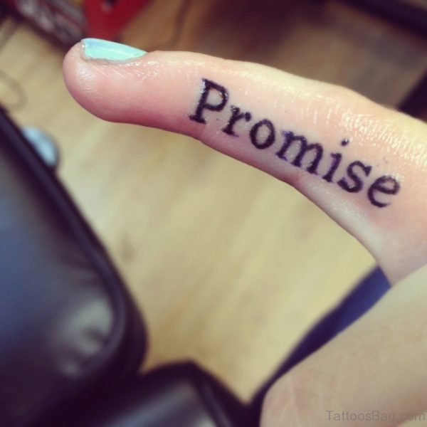 Attractive Promise Tattoo On Finger