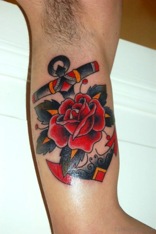 Attractive Rose Flower Tattoo On Shoulder