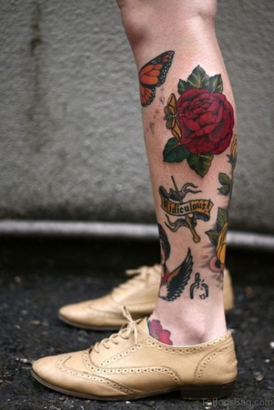 Attractive Rose Tattoo On Leg