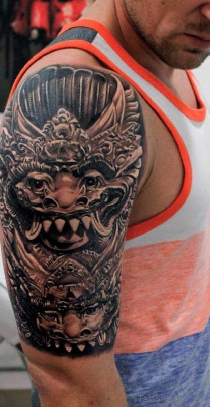 Attractive Samurai Mask Tattoo On Shoulder