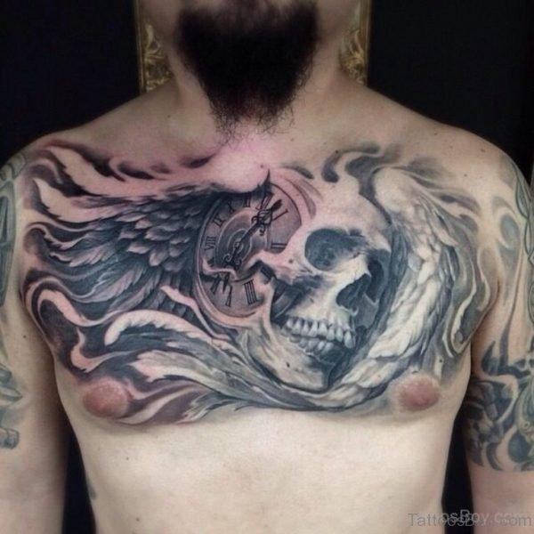 Attractive Skull Tattoo On Chest