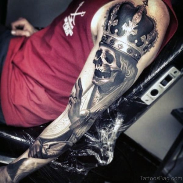 Attractive Skull Tattoo On Full Sleeve