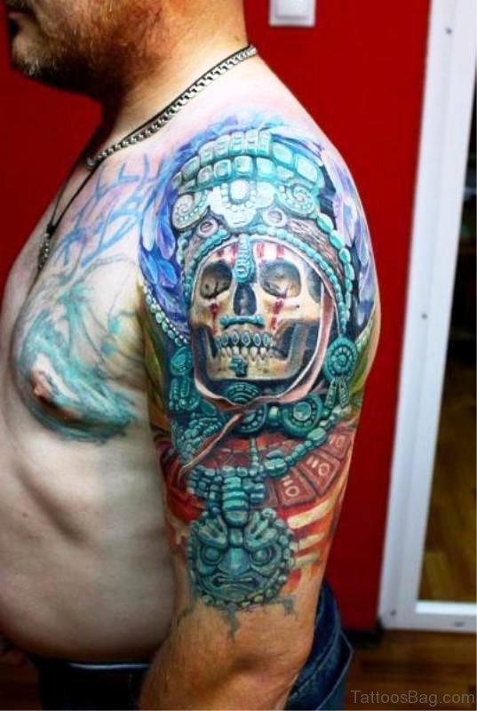 Attractive Skull Tattoo On Left Shoulder