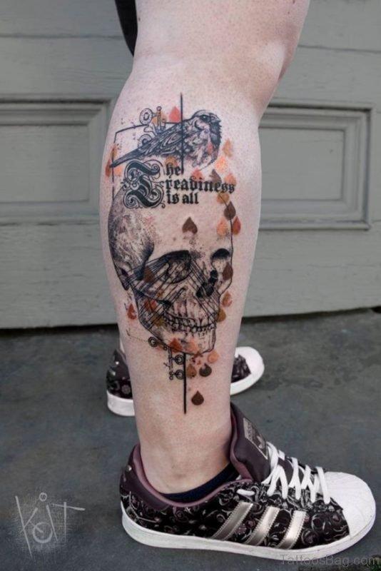 Attractive Skull Tattoo On Leg