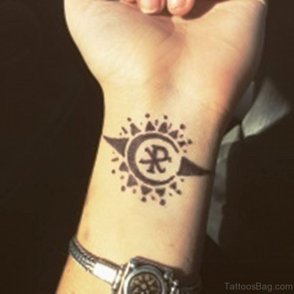 Attractive Sun Tattoo On Wrist