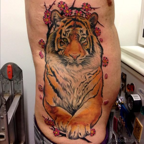 Attractive Tiger Tattoo Design On Rib