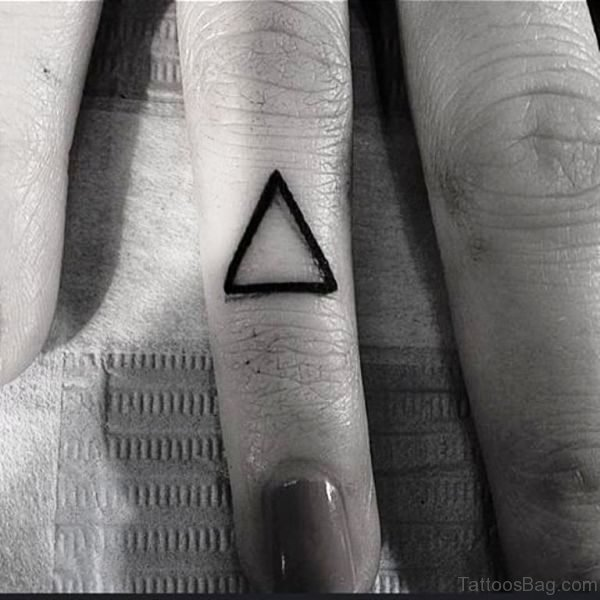 Attractive Triangle Tattoo On Finger