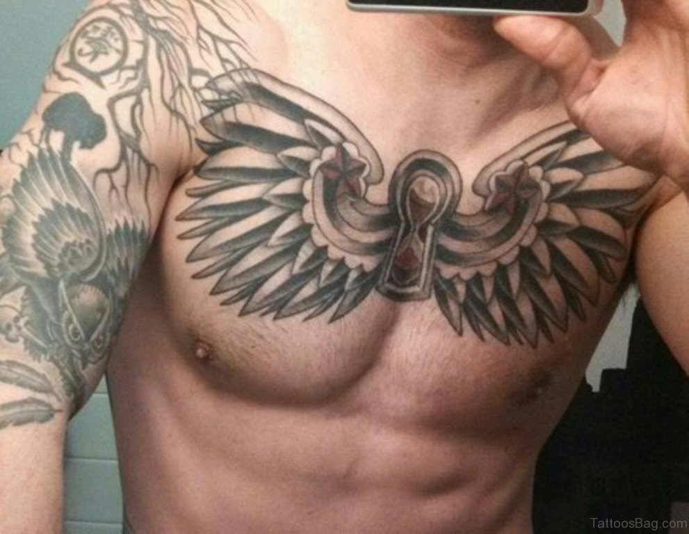 37f579e82 70 Stylish Wings Tattoo For Chest