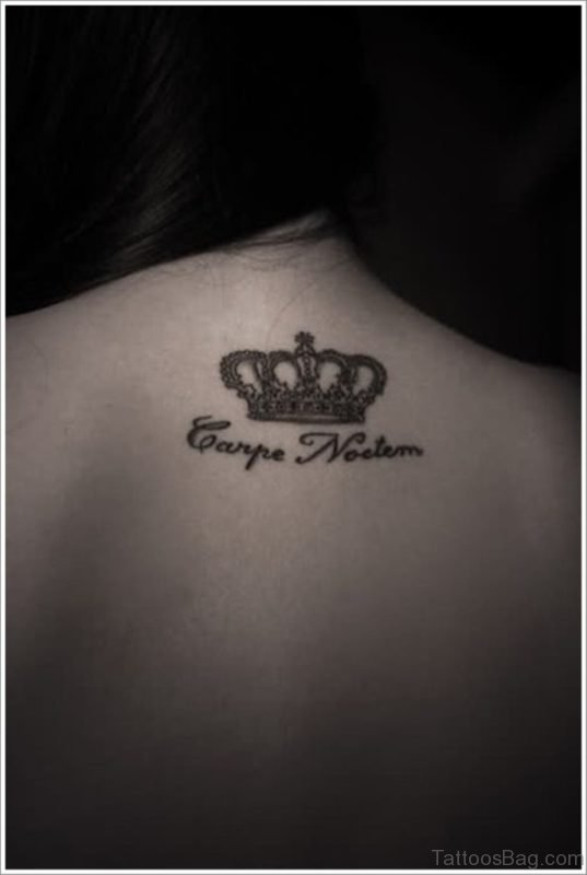 Attractive Queen Crown Tattoo On Neck
