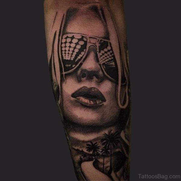 Aviator Girl Portrait Tattoo