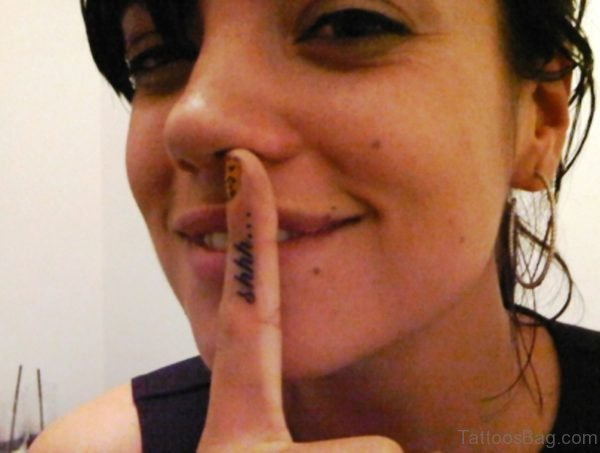 Amazing Shhh Tattoo On Finger