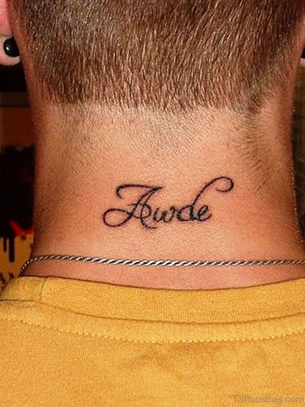 Awde Letter Neck Tattoo
