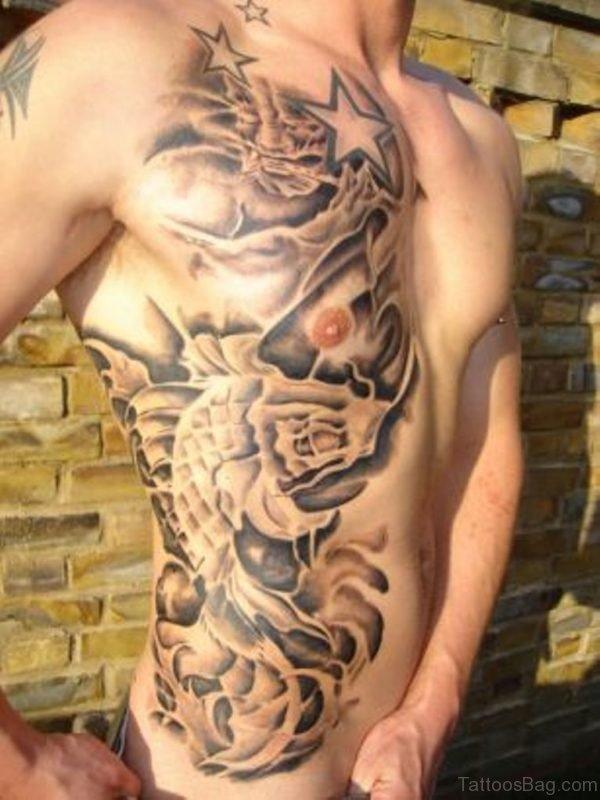 Awesome Fish Tattoo On Rib