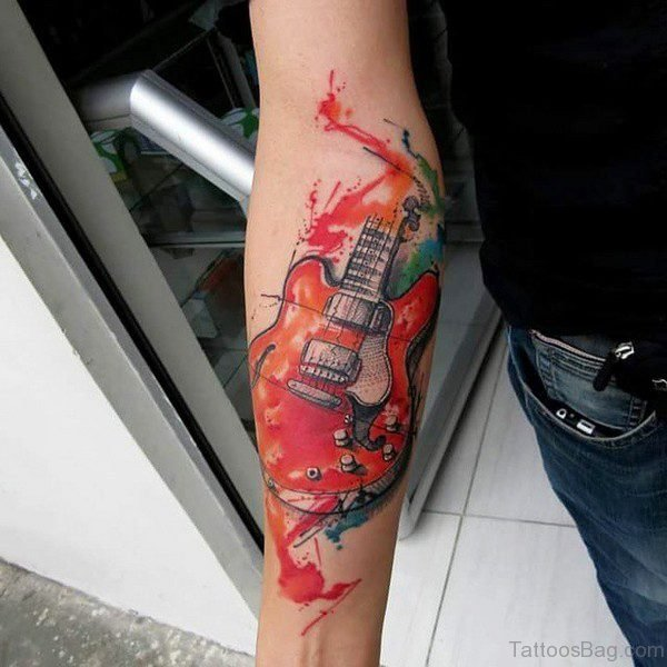 Awesom Red Guitar Tattoo On Forearm