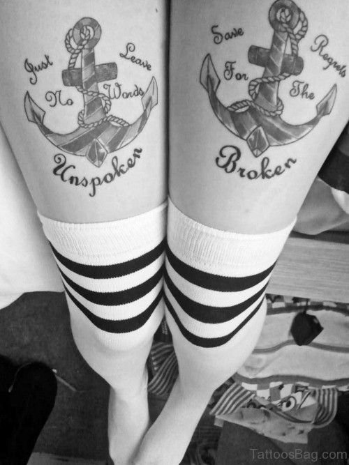 Awesome Anchor Tattoo On Both Thigh