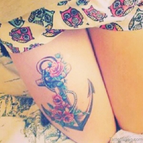 Awesome Anchor Tattoo On Thigh