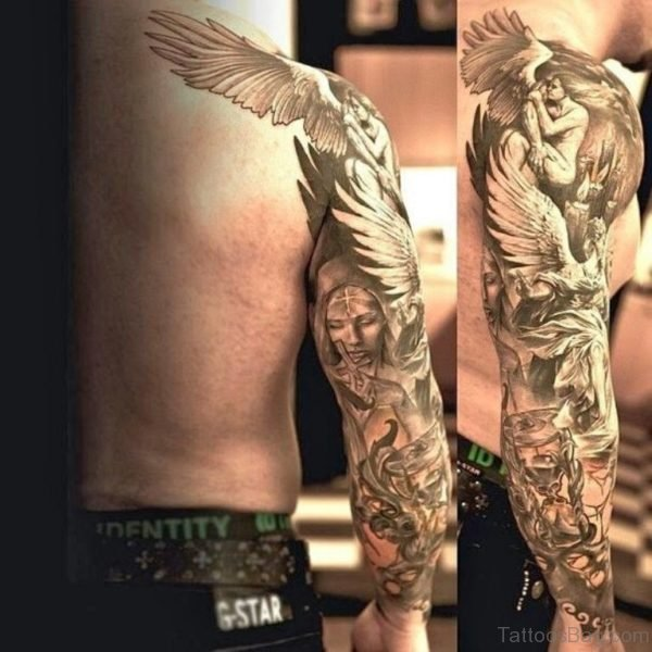 Awesome Angel Tattoo On Full Sleeve