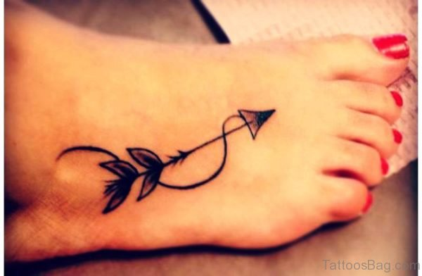 Awesome Arrow Tattoo On Foot