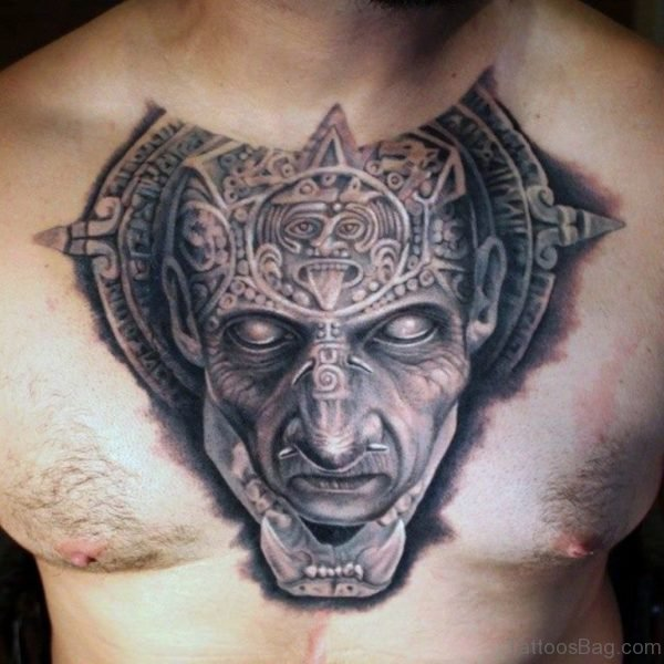 Awesome Aztec Tattoo On Chest