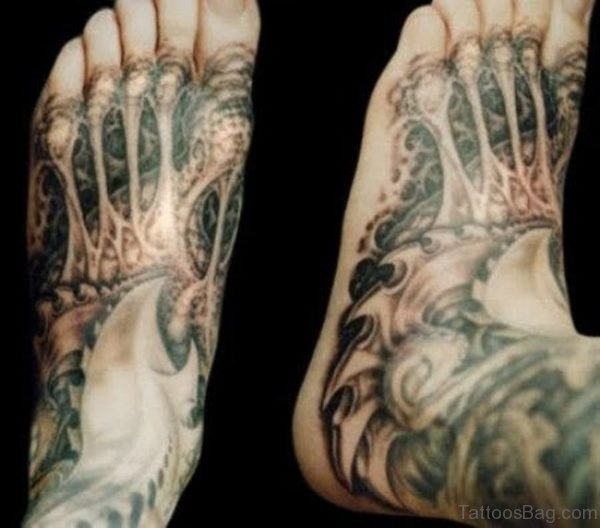 Awesome Biomechanical Tattoo For Foot