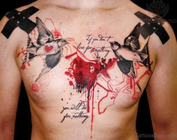 Awesome Birds Tattoo On Chest