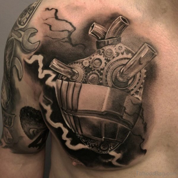 Awesome Black And Grey Mechanical Heart Tattoo On Chest