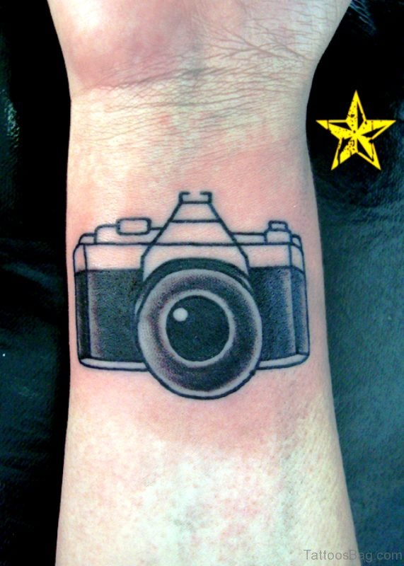 Awesome Black Camera Wrist Tattoo