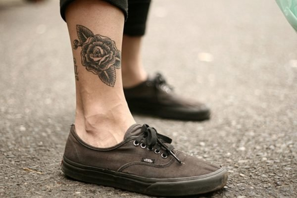 Awesome Black Ink Rose Tattoo On Ankle
