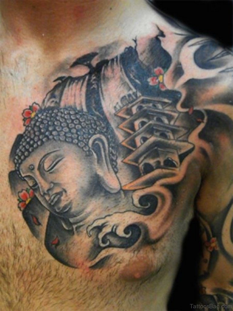 41 religious buddha tattoos for chest for Japanese style chest tattoos