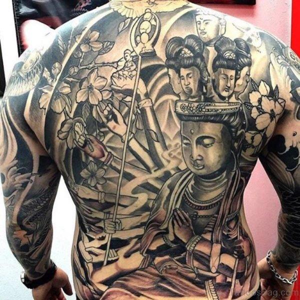 Awesome Buddha Tattoo Design On Back