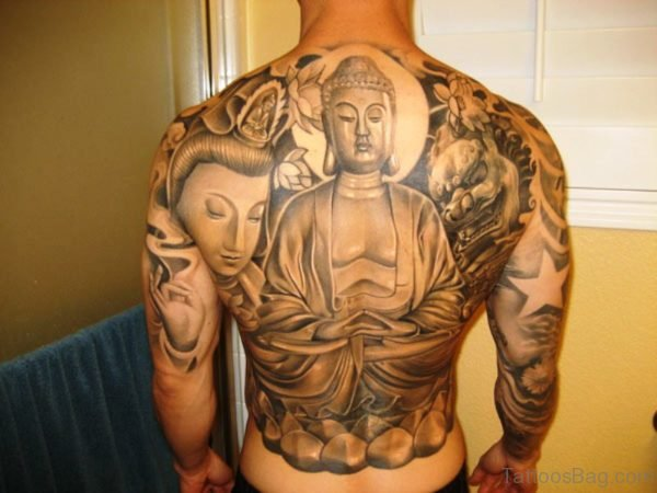 Awesome Buddha Tattoo On Back