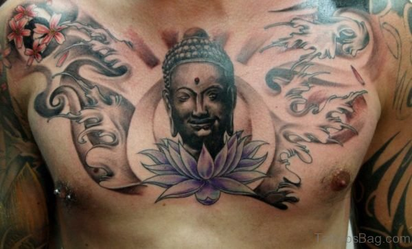 Awesome Buddha Tattoo On Chest