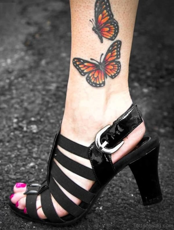 Awesome Butterfly Tattoo On Ankle