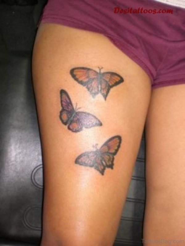 Awesome Butterfly Tattoo On Thigh