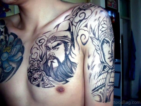 Awesome Chinese Warrior Tattoo On Chest