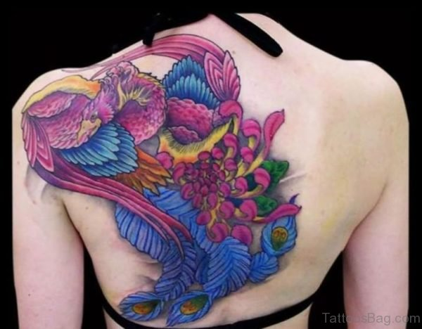 Awesome Colored Phoenix Tattoo