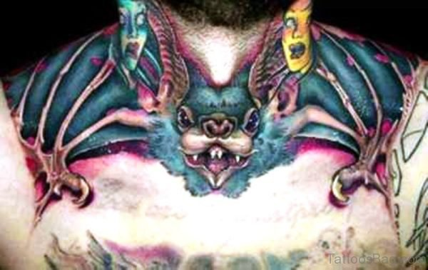 Awesome Colorful Bat Tattoo On Chest