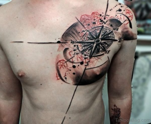 Awesome Compass Tattoo On Chest
