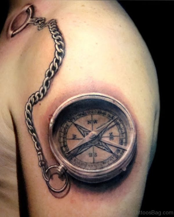 Awesome Compass Tattoo On Shoulder