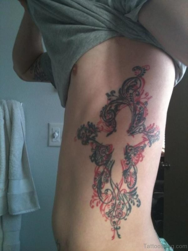Awesome Cross Tattoo On Rib