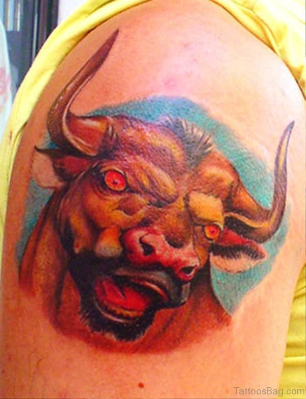 Awesome Dangerous Bull Tattoo On Shoulder