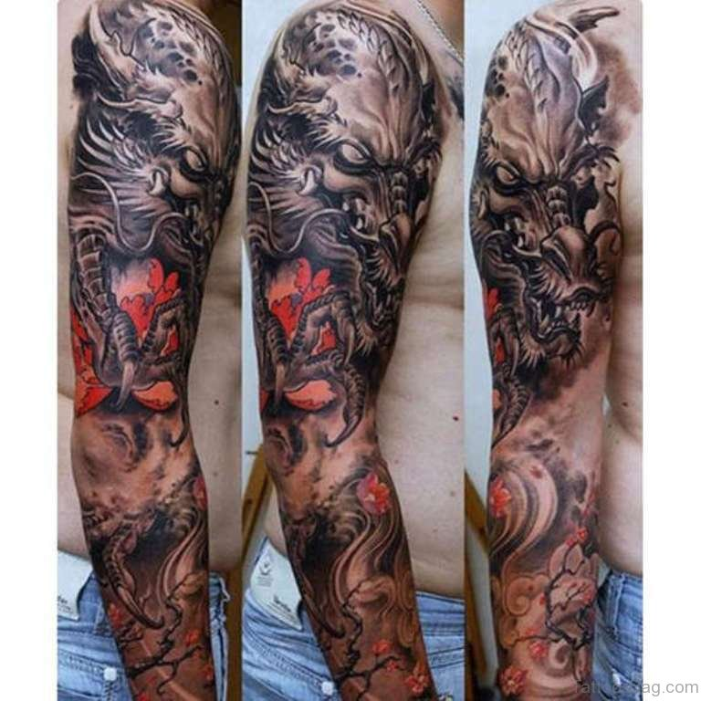 52 magnificent dragon tattoos on full sleeve. Black Bedroom Furniture Sets. Home Design Ideas