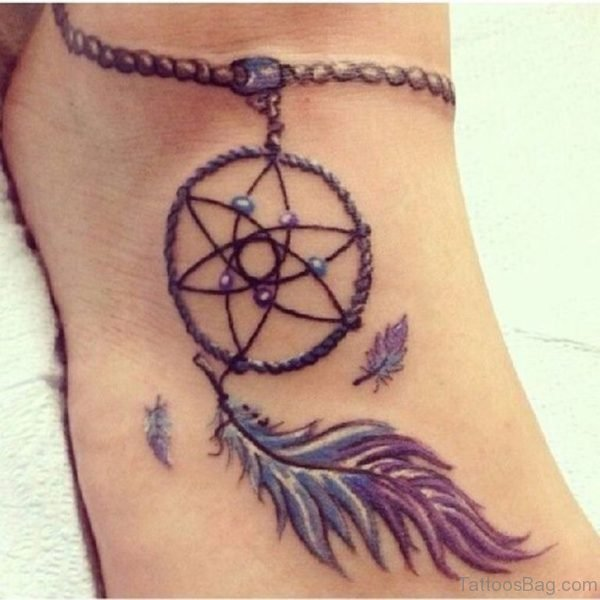 Awesome Dreamcatcher Tattoo On Ankle