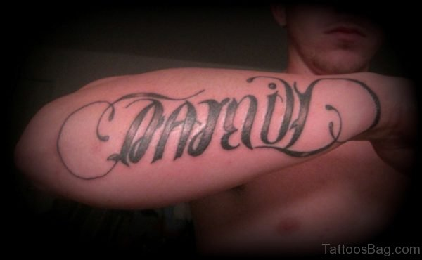 Awesome Family Ambigram Tattoo