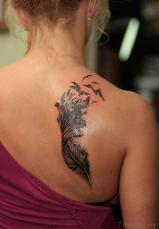 Awesome Feather Tattoo On Back