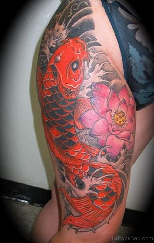 Awesome Fish Tattoo On Thigh