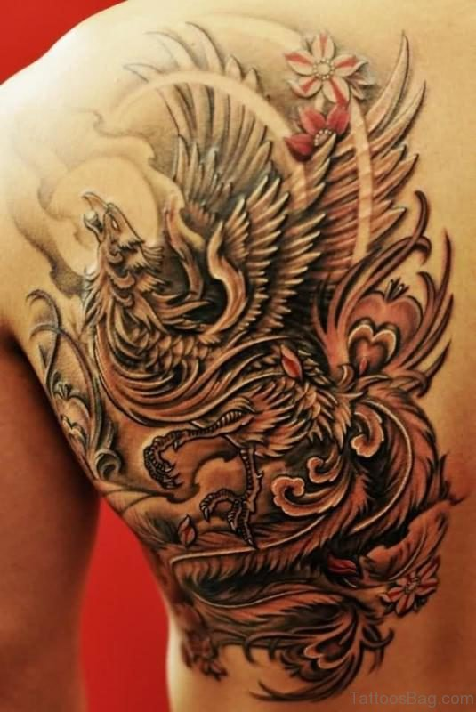 Awesome Flying Phoenix Tattoo